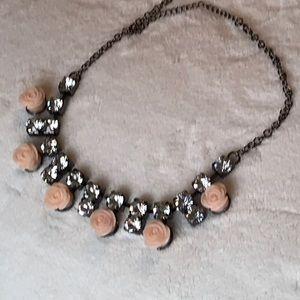 Vintage Rose and Rhinestone. Choker Necklace